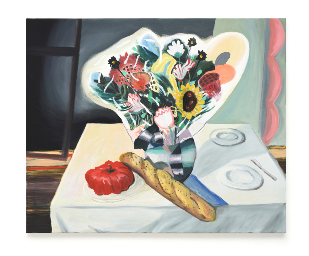 Still_life_with_tomato,bread_and_flowers_2019_100x120cm